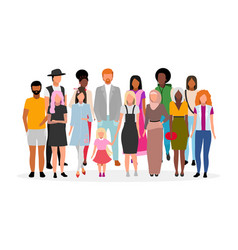 Multiracial people group flat multicultural vector