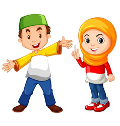 Muslim boy and girl in traditional costume vector