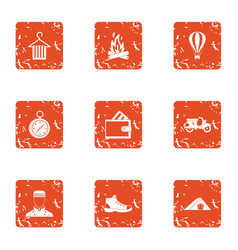 Nation rest icons set grunge style vector