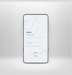 Neumorphic ui kit on smartphone screen login and vector