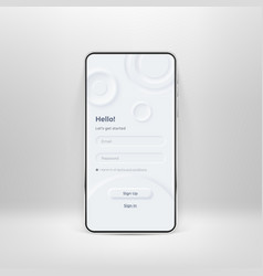 neumorphic ui kit on smartphone screen login vector image