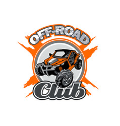 off-road utv club logo with orange buggy in center vector image