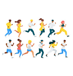 People running flat characters set vector