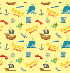 pirate doodles seamless pattern cute items vector image