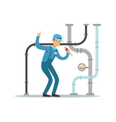 Proffesional plumber man character repairing and vector