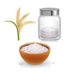 Rice ear bowl jar with grain vector