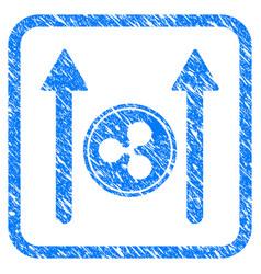 ripple coin send arrows framed stamp vector image
