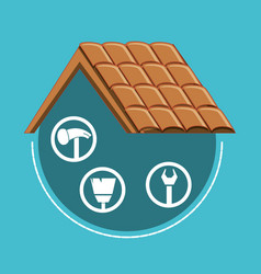 Roof structure with home repair icons vector