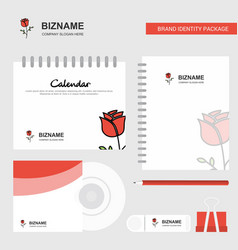 rose logo calendar template cd cover diary and vector image