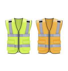Safety reflective vest set with pockets yellow vector