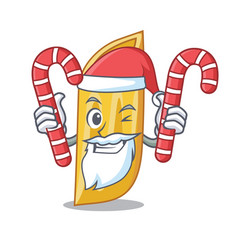 Santa with candy penne pasta character cartoon vector