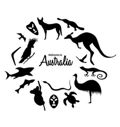 set of australian animals silhouettes the nature vector image