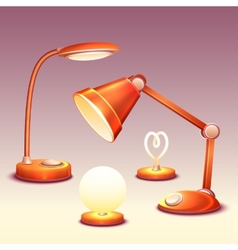 set of realistic office reading-lamps vector image