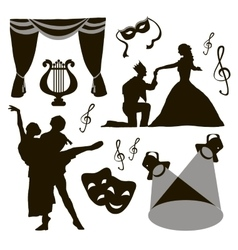 Set of theatre acting performance icons vector image