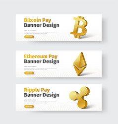 set of white horizontal banners with gold 3d vector image