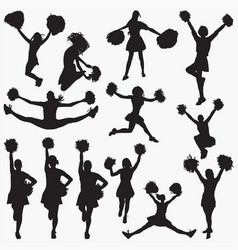 silhouettes cheerleader 1 vector image