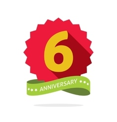 Six anniversary badge with shadow on red starburst vector