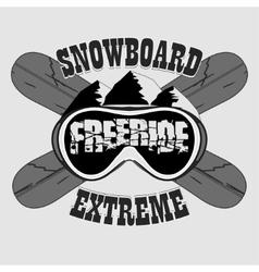 Snowboarding T-shirt winter sport emblem vector