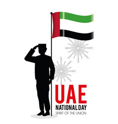 Soldier with uae flag to celebrate national day vector