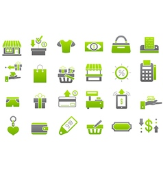 Store green gray icons set vector