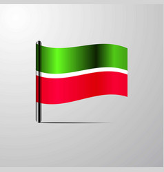 Tatarstan waving shiny flag design vector