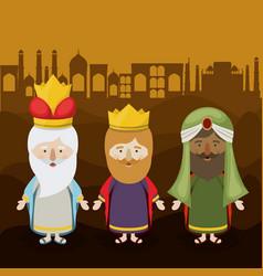 The three wisemen cartoon design vector