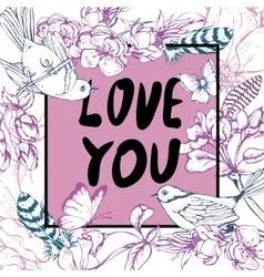 Vintage garden spring greeting card Floral design vector image