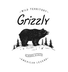 vintage logo with bear vector image