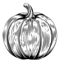 Vintage retro woodcut pumpkin vector