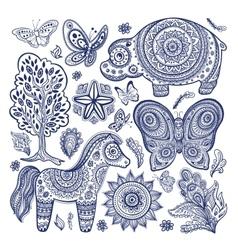 Vintage set ethnic animals vector