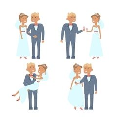 Wedding couple characters vector