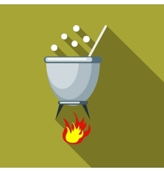 Witches cauldron with potion icon flat style vector