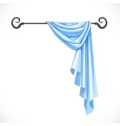 Blue drapery hanging on forged cornice isolated on vector image