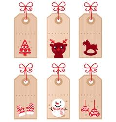 cute christmas retro tags vector image