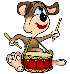 dog drummer vector image vector image