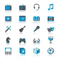 Entertainment flat with reflection icons vector image