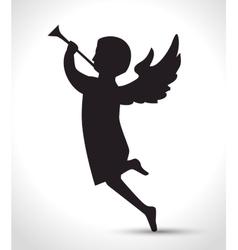 silhouette angel manger isolated design vector image