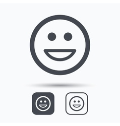 Happy smile icon Smiley laugh emoticon sign vector image