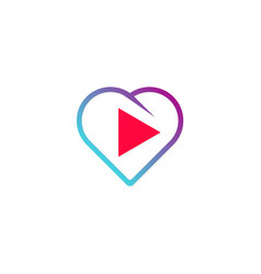 love play button logo vector image
