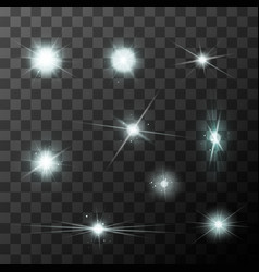 set of different starbursts with white sparkles vector image vector image