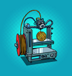 3d printer manufacturing bitcoin cryptocurrency vector image