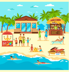 beach flat style vector image vector image