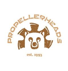 Bear t-shirt Animal head logo with fan blades vector image