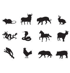 chinese horoscope icons vector image vector image