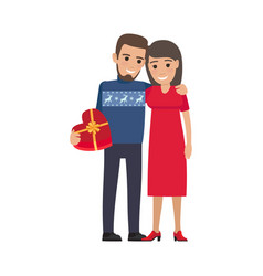 couple hugs and makes gift holiday vector image