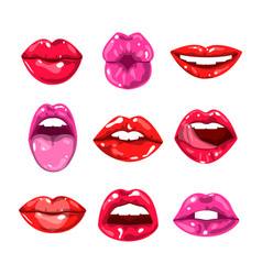 Female glossy colored lips that kiss and show vector