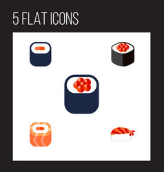 Flat icon sushi set of gourmet oriental eating vector
