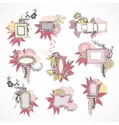 Floral decorative doodle frames set vector image vector image