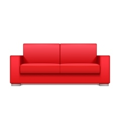 Red leather realistic sofa for modern living room vector image