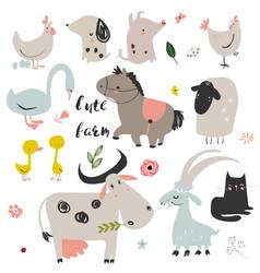 set of cute farm animals vector image vector image